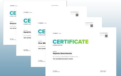 Вітаємо студентів кафедри із отриманням сертифікатів від SoftServe IT Academy