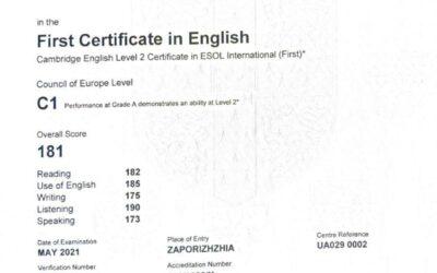 Вітаємо із отриманням сертифікату з англійської мови  рівня С1